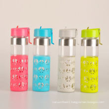 new style heat-transfer printing drinking glass water bottle with fruit infuser